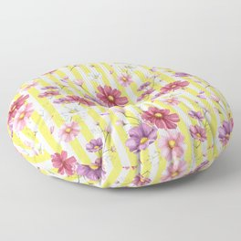 Pastel Flowers on Yellow Stripes Floor Pillow
