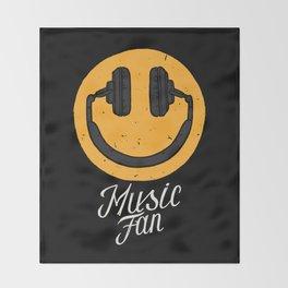 Music fan smile Throw Blanket