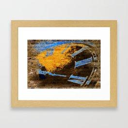 BRICKED CLOCK Framed Art Print