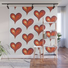 Rows with watercolor hearts Wall Mural