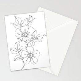 Floral one line drawing - Rose Stationery Cards