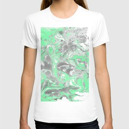Light green and gray Marble texture acrylic paint art T-shirt