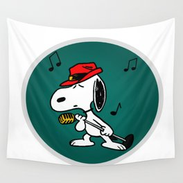 snoopy singing colorful Wall Tapestry