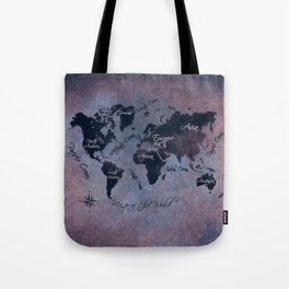 world map 141 red blue #worldmap #map Tote Bag