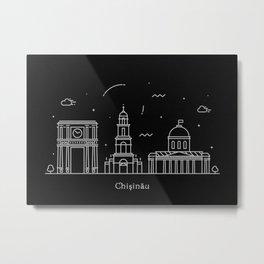 Chişinău Minimal Nightscape / Skyline Drawing Metal Print