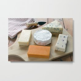 Cheese Board Selection on a Wooden Table Metal Print