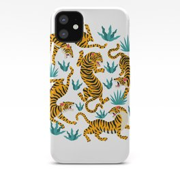 Tiger dance in the tropical forest hand drawn illustration iPhone Case