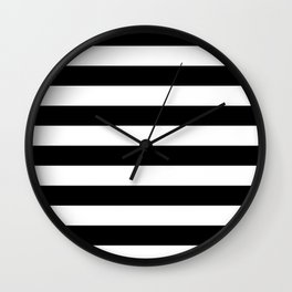 Even Horizontal Stripes, Black and White, L Wall Clock