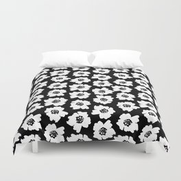 Linocut botanical nature floral flower art nursery black and white decor newborn Duvet Cover