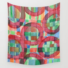 Red Magical Rings Wall Tapestry