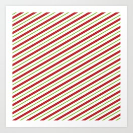 Christmas Striped Green Red Pattern Art Print
