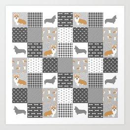 Corgi Patchwork Print - grey, dog, buffalo plaid, plaid, mens corgi dog Art Print