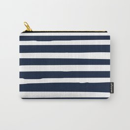 Stripes Nautical Modern Navy and White Carry-All Pouch