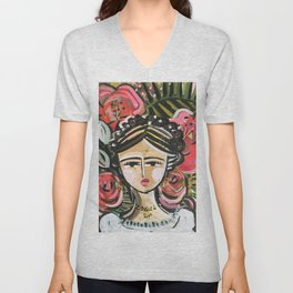"Portrait ""Mexican Girl"" Face art Unisex V-Neck"