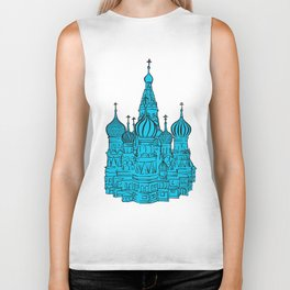 Moscow Kremlin illustration with colored backplate. Biker Tank