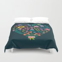 jon snow Duvet Covers featuring Floral Heart by Anna Deegan