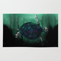 sea turtle Area & Throw Rugs featuring Sea Turtle by Ben Geiger