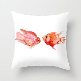 Two Love Fish, Fish art, Love, aquarium design, Parrot Cichlids Throw Pillow