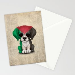 Cute Puppy Dog with flag of Palestine Stationery Cards