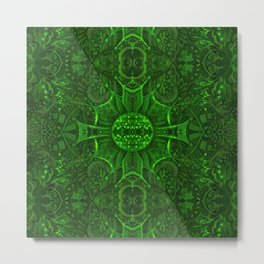 Butterfly Forest Bohemian Arabesque Pattern Emerald Metal Print