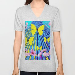 MODERN ART YELLOW BUTTERFLIES PINK FLOWERS BLUE PATTERN Unisex V-Neck