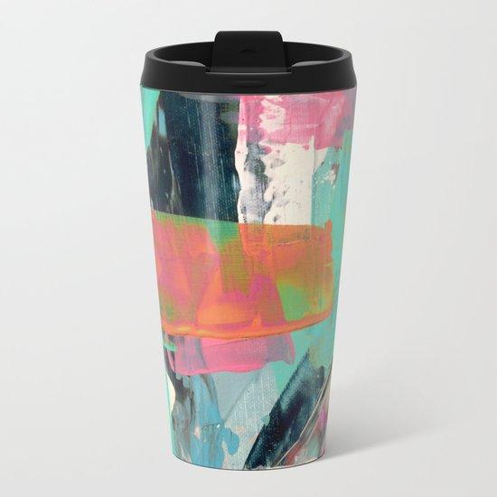 [Still] Hopeful - a bright mixed media abstract piece Metal Travel Mug