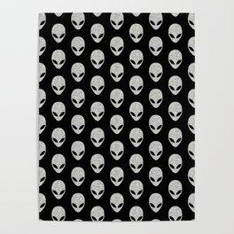 Glitter Grey Aliens Poster