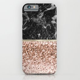 Warm chromatic - rose gold and black marble iPhone Case