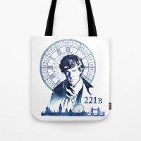 sherlock Tote Bags featuring Sherlock by Jackie Sullivan