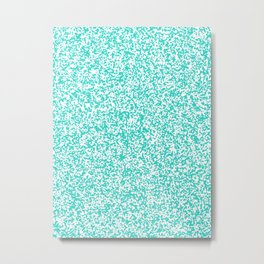 Tiny Spots - White and Turquoise Metal Print