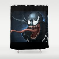 venom Shower Curtains featuring Venom by Fr0stArt