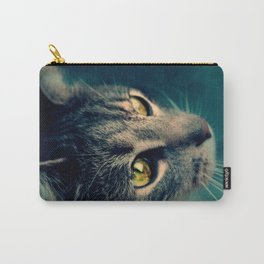 Vintage Yellow-Eyed Cat looking up Above Carry-All Pouch