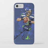 seahawks iPhone & iPod Cases featuring Russell Wilson QB 3 Seattle Seahawks by Akyanyme