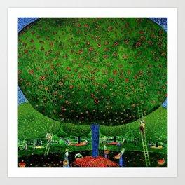 Apple Pickers, Autumn, Apple Orchard landscape by Cuno Amiet Art Print