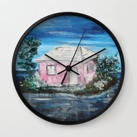 home sweet home Wall Clocks featuring home by sladja