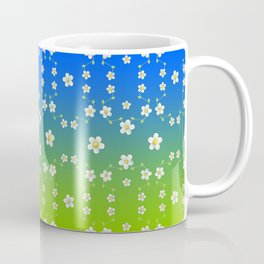 Spring Floral on blue and green ombre Coffee Mug