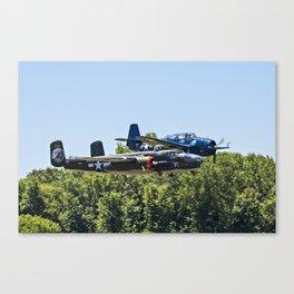 B-24 and Hellcat World War II Aircraft Fly Together at Mosby Missouri Canvas Print