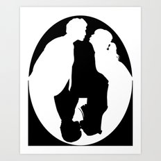 Pushing Daisies silhouette kiss Art Print
