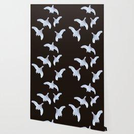 White Willow grouse Birds On A Black Background #decor #buyart #society6 Wallpaper