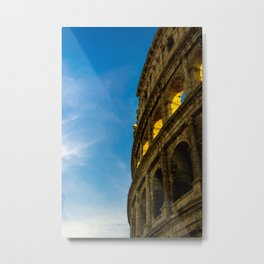 Sunset Hitting The Roman Colosseum Metal Print
