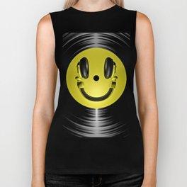 Vinyl headphone smiley Biker Tank