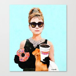 Breakfast at Dunkin Donuts - Audrey Hepburn Canvas Print