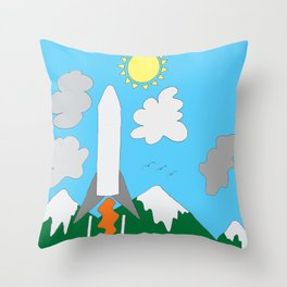 The Space Launch Up And Away Throw Pillow