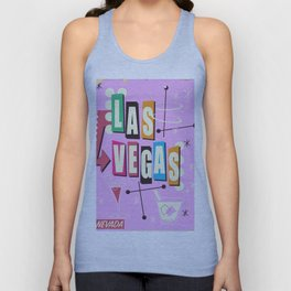 Vintage Las Vegas Vacation print pink version Unisex Tank Top