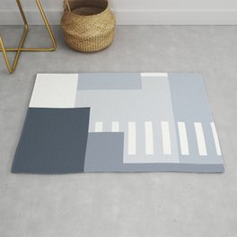 Carson Abstract Geometric Print in Blue Rug