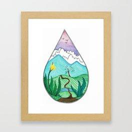 Landscape in a Raindrop Framed Art Print