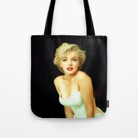 monroe Tote Bags featuring Marilyn Monroe by Mamboo