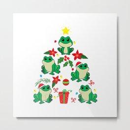 Frog Christmas Ornament Tree Funny Xmas Gift T-Shirt Metal Print