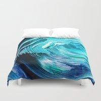 surfing Duvet Covers featuring Surfing by ART de Luna