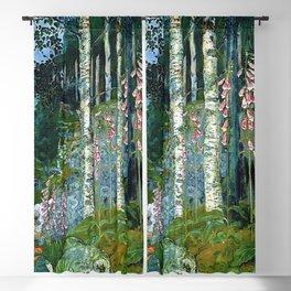 Wilderness Landscape, Wild Foxglove Flowers, White Birch, Stream & Cattle by Nikolai Astrup Blackout Curtain